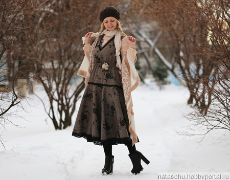 Сарафан твидовый на осень и зиму ручной работы на заказ