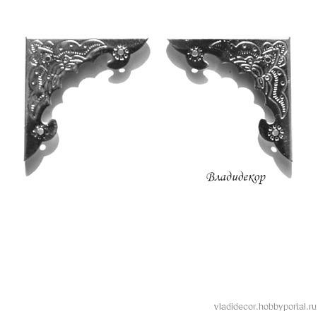 Уголок декор шкатулки М-23 бронза  серебро ручной работы на заказ