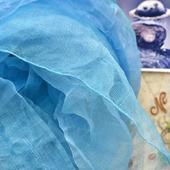 """Шелковый шарф батик """"Воздух"""" голубой синий бирюзовый органза"""