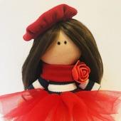 Текстильная кукла - Парижанка, француженка