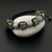 Браслет шамбала из натуральных камней Змеевик