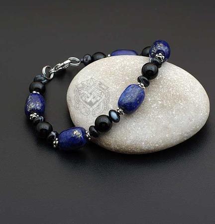 Браслет мужской из натуральных камней Арбат (лазурит с пиритом, агат) ручной работы на заказ