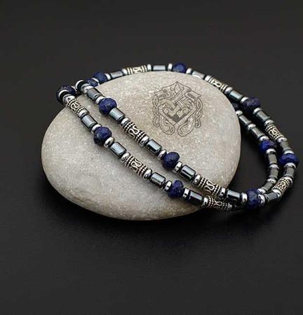 Короткие бусы/ чокер Афина (лазурит/ гематит/серебро 925 ручной работы на заказ