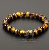 Будда II Мужской браслет из тигрового глаза на резинке