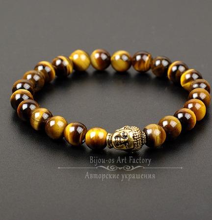 Будда II Мужской браслет из тигрового глаза на резинке ручной работы на заказ