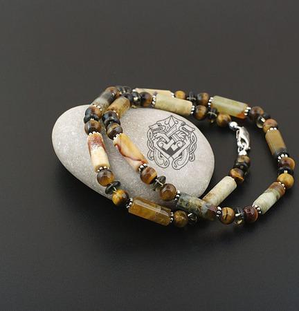 Короткие мужские бусы/чокер нефрит/тигровый глаз/раухтопаз/серебро 925 ручной работы на заказ