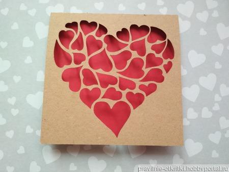"""Открытка для влюбленных """"Сердца сердец"""" ручной работы на заказ"""