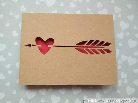 """Открытка для влюбленных """"Стрела в сердце"""" ручной работы на заказ"""