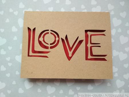 """Открытка для влюбленных """"LOVE"""" ручной работы на заказ"""