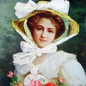 фото: Картины и панно (девушка с цветами)