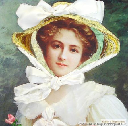 Девушка в соломенной шляпке ручной работы на заказ