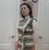 """Платье зимнее, связанное из мохера спицами """"Зимняя фантазия"""""""