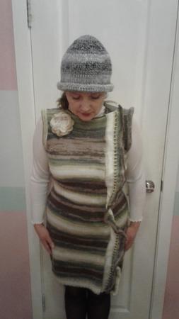 Платье зимнее, связанное из мохера спицами ручной работы на заказ
