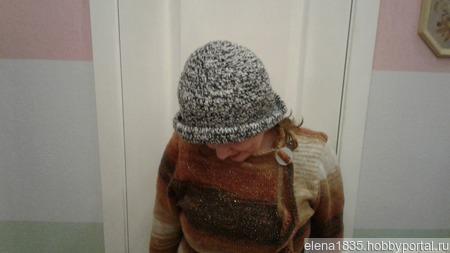 Шапка-шляпка женская, вязаная крючком ручной работы на заказ