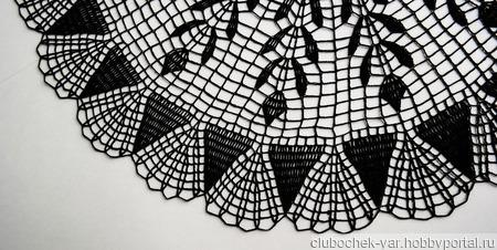 Черная большая вязаная салфетка ручной работы на заказ