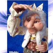 Кукла копилка Баба Яга в ступе
