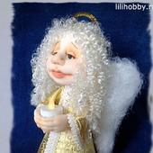 Ангел со свечой чулочная кукла