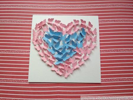 """Открытка для влюбленных """"Бабочки в моем сердце"""" ручной работы на заказ"""