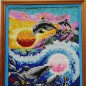 """Картина вышитая """"Морские обитатели"""""""