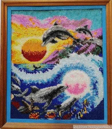 """Картина вышитая """"Морские обитатели"""" ручной работы на заказ"""
