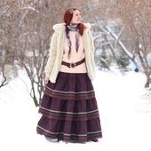 Юбка из полушерсти в стиле бохо на зиму и осень