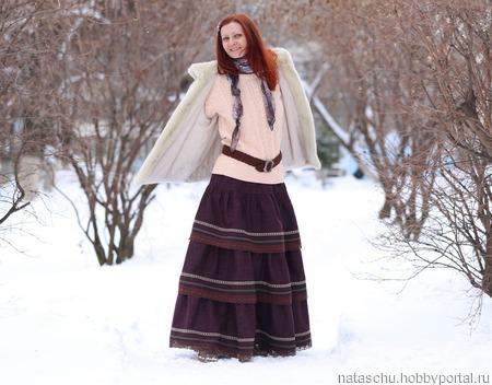 Юбка из полушерсти в стиле бохо на зиму и осень ручной работы на заказ