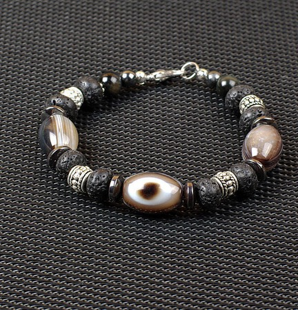 Мужской браслет Глаз совы (агат-гематит-лава-соколиный глаз) ручной работы на заказ