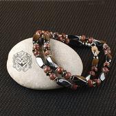 Бусы мужские короткие (гематит/яшма красная/раухтопаз/серебро 925)