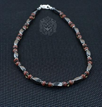 Бусы мужские короткие (гематит/яшма красная/раухтопаз/серебро 925) ручной работы на заказ
