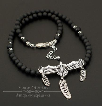 Eagle Чокер/мужские бусы с подвеской шунгит/гематит/серебро925 ручной работы на заказ