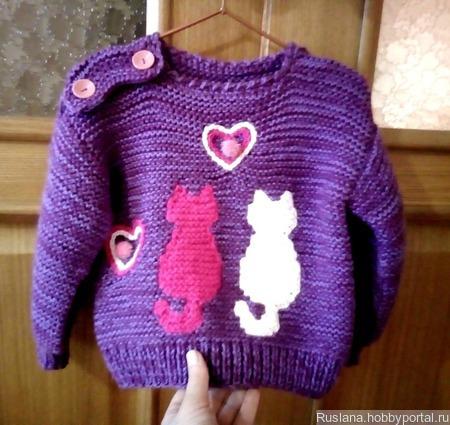 Красивый детский джемпер  свитер кофточка котята ручной работы на заказ