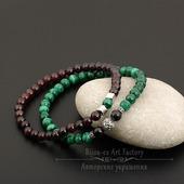 Комплект браслетов на резинке натуральный малахит/гранат/серебро