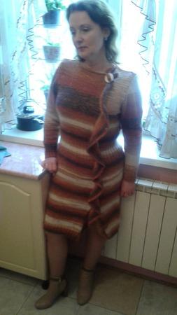 Платье женское тёплое,связанное из мохера спицами ручной работы на заказ