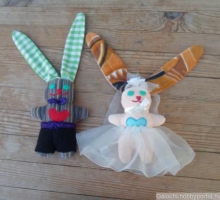 Заяц невеста Б.4.1.4.2.1.2 и заяц жених Б.4.1.4.2.1.1 ручной работы на заказ