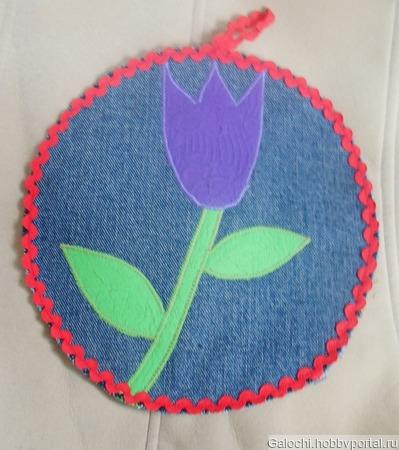 """Подставка под горячее круглая средняя """"Тюльпан"""" фиолетовый Б.4.1.1.3.2.1 ручной работы на заказ"""