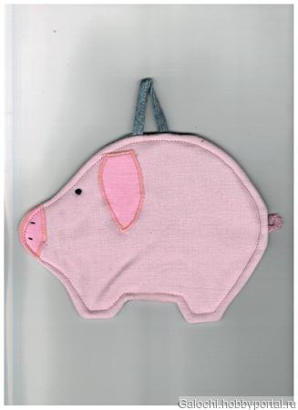 """Прихватка """"Свинка"""" розовая с тёмнорозовыми ушками 4.1.1.1.3.1.1 ручной работы на заказ"""