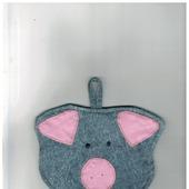 """Прихватка фигурная """"Свинка"""" голова джинс с розовыми ушками и пятачком 4.1.1.1.3.2.1"""