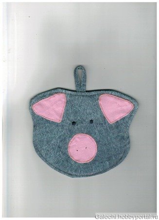 """Прихватка фигурная """"Свинка"""" голова джинс с розовыми ушками и пятачком 4.1.1.1.3.2.1 ручной работы на заказ"""