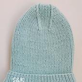Вязаная шапка 1*1 с красивой макушкой