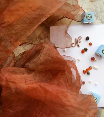 """Шелковый шарф батик """"Ржавчина"""" органза оранжевый красный коричневый ручной работы на заказ"""