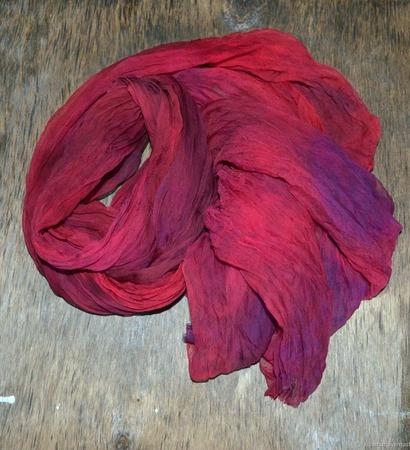 Шелковый шарф женский натуральный шелк шифон ручной работы на заказ