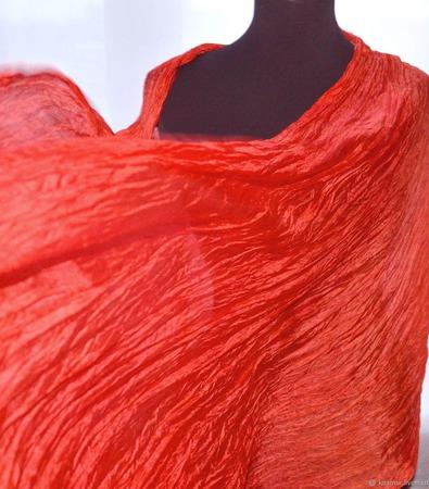Шарф палантин шелковый женский очень длинный КОРАЛ ручной работы на заказ