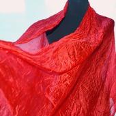 Шарф палантин шелковый женский красно оранжевый Энергия