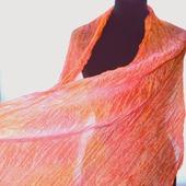 Шарф палантин шелковый женский нежно персиково розовый