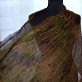 Шифоновый Шелковый женский шарф хаки коричневый натуральный шелк