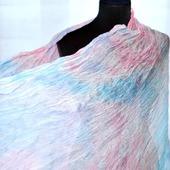 Шифоновый женский шарф бело розово голубой натуральный шелк