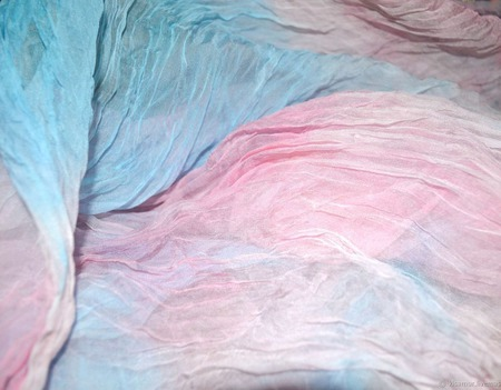 Шифоновый женский шарф бело розово голубой натуральный шелк ручной работы на заказ