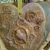 Подвеска Сердце тильда винтажное в ассортименте из дерева