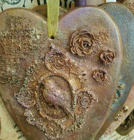 Подвеска Сердце тильда винтажное в ассортименте из дерева ручной работы на заказ