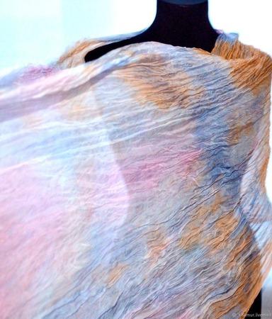 Шифоновый женский шарф натуральный шелк ручной работы на заказ